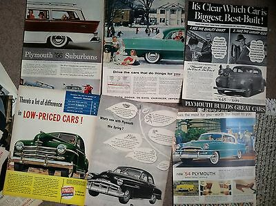 """100 PLYMOUTH 1940s 1950s Classic Car MAGAZINE AD 10x14"""" SIZE 20c ea 12 2pg"""