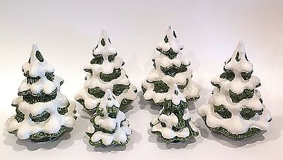 Fitz & Floyd Vintage Ceramic Snow Capped Christmas/Pine Trees ~ Set of 6
