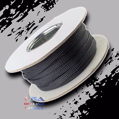 "3/8"" 100ft Expandable Braided conduit Wire Cable Weave Sleeve hose cover tube US"