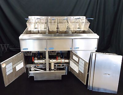 208V Pitco Se14 Solstice Supreme 3 Well Electric 50 Lb Commercial Fryer W Filter
