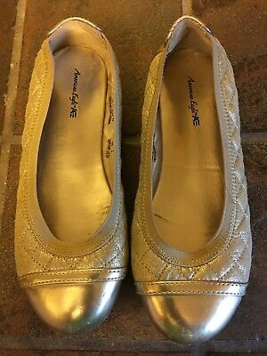 Girls Youth Flat Ballet Church Dress Shoes Size 1.5 American Eagle Gold