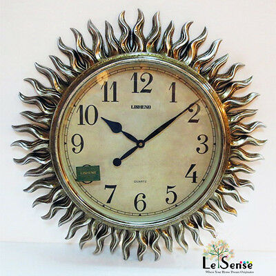 New Large Modern Fashion Art Wall Clock Sun-Shaped Bronze Home Decor 68 cm