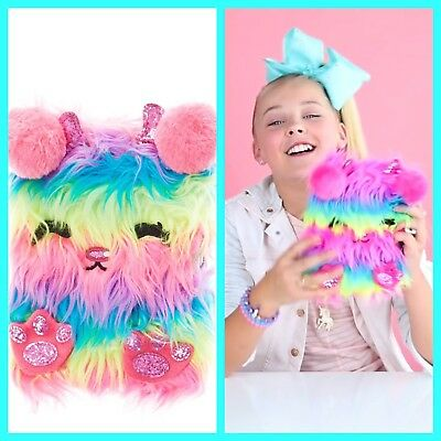New Jojo Siwa Boomerang Plush Journal Diary Notebook Monster Rainbow Lock Key
