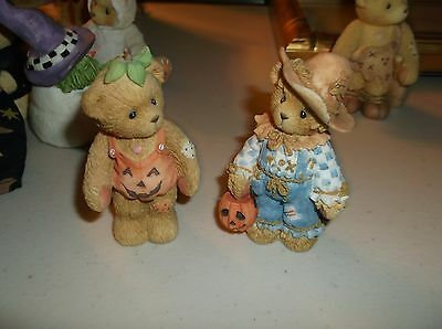 Lot of 2 Cherished Teddies Halloween Bear Figurines Tom/Adelaide,Scarecrow