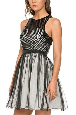 Short Sequin Fit and Flare Black Dress with Mesh Overlay