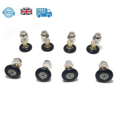 Set of 8 Pcs Partiality Shower Door ROLLERS /Runners/Wheels/Pulleys 27mm Quality