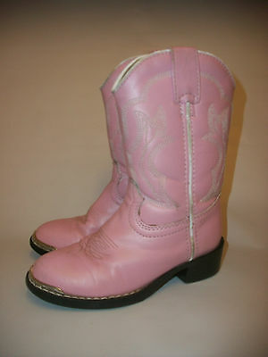 Durango Boots Girl's Pink Western Cowboy Boots, Size 10D Silver Toe Plate