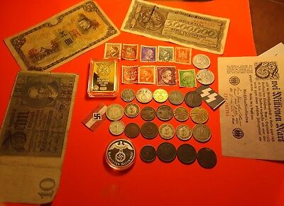 Nazi, german coin lot ww2 & erlyer! Proof Medal, stamps, ww2 banknotes, gold bar