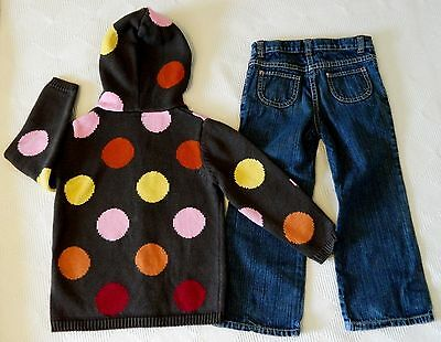 Girl's 4T Lot ~ GYMBOREE Matching Polka Dots Hooded Sweater & Denim Jeans