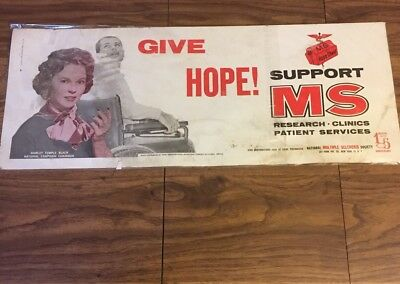 1961 Cardboard Advertising Sign Shirley Temple Mass Transit MS 15 Anniversary