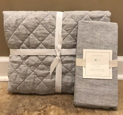NEW Pottery Barn Kids Baby Belgian Flax Linen Crib Skirt GRAY