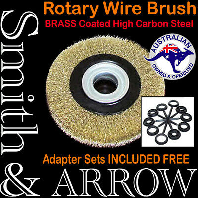 "ROTARY WIRE WHEEL 8"" 200mm / 6"" 150mm BRASS BRUSH BENCH GRINDER STEEL METAL RUST"