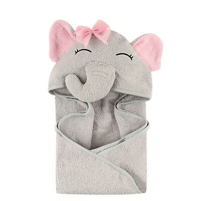 Hudson Baby Animal Face Hooded Towel for Girls, Pretty Elephant Bath Towels