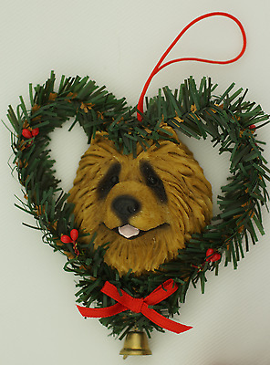 RED CHOW DOG ORNAMENT In Heart Wreath RESIN DOG CHRISTMAS TREE ORNAMENT