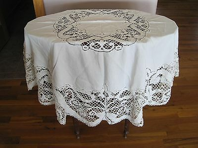 Antique lace and linen round tablecloth 55 inches