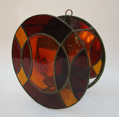 Vintage Stained Glass Wall Hanging Candle Votive Holder Handmade Amber