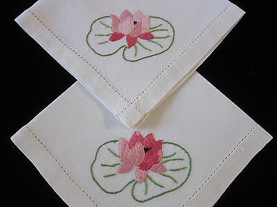 Pair Vintage Napkins Water Lily Hand Embroidered Linen