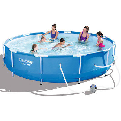 Bestway Steel Pro Round Frame Pool Swimming Pool Cover w/ Filter Pump 12' x 30''