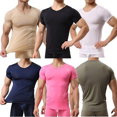 Men's Smooth Gym Sport T-shirt Fitness Muscle Stretch Soft Tee Tops Clothes  UK