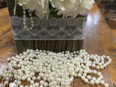 String of 5 Metres Fixed Acrylic 8mm Ivory Pearls, Weddings, Formal, Parties