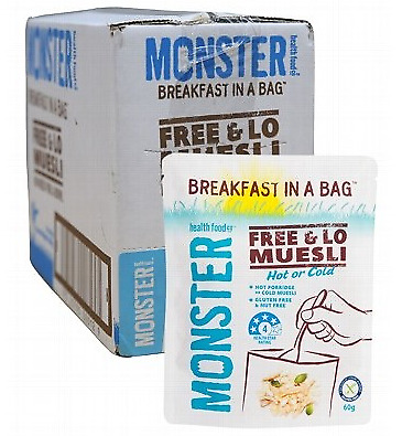 Monster Health Food Co. Breakfast In A Bag - Free & Lo Muesli 10x60g