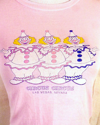 vtg 80s buttery soft thin Pink Circus Clowns T-Shirt Las Vegas Nevada indie XS