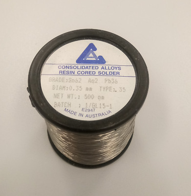 Solder - 500g - Consolidated Alloys, 0.35mm, Sn62 Ag2 Pb36
