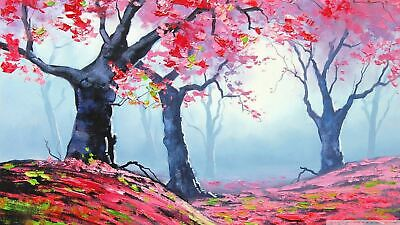 Oil Painitng Pink Trees Colourful Canvas print Home Decor quality choose  size