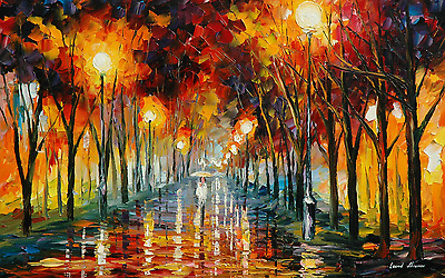 Oil Painitng Lonely girl rain Canvas print Home Decor quality choose  size