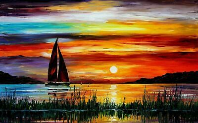 Oil Painitng Moon Sea Boat Canvas print Home Decor quality choose  size