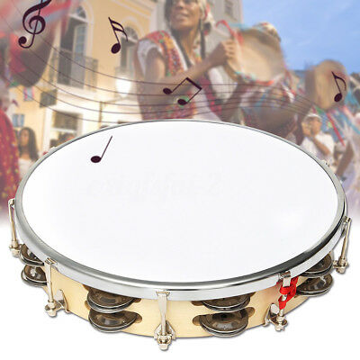 Leather Pandeiro Drum Tambourine Samba Brasil Wood Music Instrument 10'' Gift