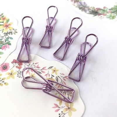 Planner Clips Spring Paperclips Purple Metallic Wire Binder Accessory 33mm
