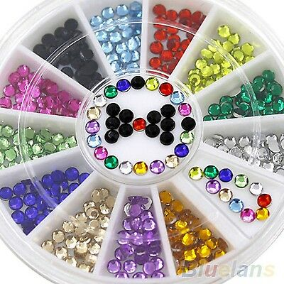 Strass Wheel with Approx. 300Multicoloured Acrylic Rhinestones Round 3mm