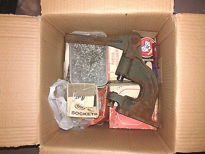 Ex.Hoarder Can Post Industrial Fabric Stud Press +Boxes Of Studs/Eyelets/Buttons