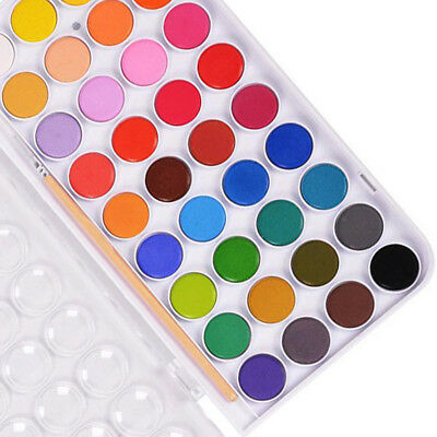 36 Color Fundamental Solid Water Pan Set Non-Toxic Artist Kit Paint Brush