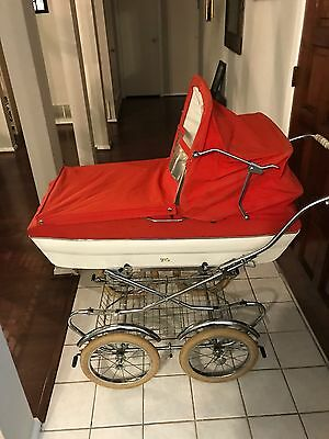 Vintage Peg Perego Stroller Carriage combo. Red velvet/white leather, 1970's