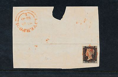 Great Britain 1840 QV penny black on partial cover front FIRST MONTH OF ISSUE