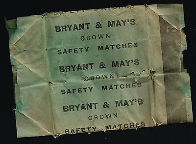 Bryant & May's -Crown Match Box -Side Panel #2 Carton Wrapper Variation - 1940's