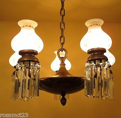 Vintage Lighting large circa 1920 pan crystal chandelier with glass shades