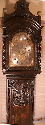 """Antique Tall Carved Oak """" Hull """"  Grandfather / Longcase Clock"""