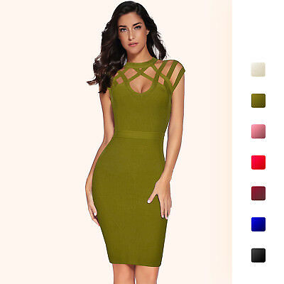 31984c33100 Meilun Women s Rayon Hight Neck Hollow Out Bandage Bodycon Party Dresses