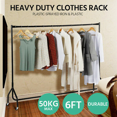 6ft Strong Clothes Rack Garment Display Rolling Metal Rail Hanger Dryer Stand AU