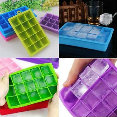 15-Cavity Large Ice Cube Tray Pudding Jelly Maker Mold Square Mould Silicone DIY