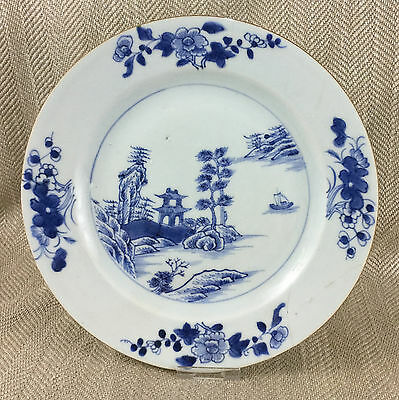 Antique Chinese Plate Export Porcelain Hand Painted Temple Boat Blue & White