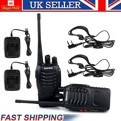 2 way Radio Earpiece Walkie Talkies Long Range UHF 400-470MHZ 16CH 2x Baofeng UK