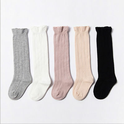 Baby Toddler Girls Cotton Knee High Socks Tights Leg Warmer Stockings For 0-3Y W