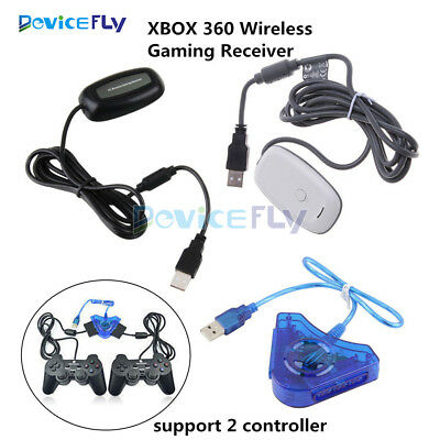 PC Wireless USB 2.0 Gaming Receiver-Controller Adapter for Xbox 360 White/Black