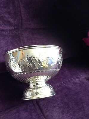 Vintage Silver Plated Hand Chased Pedestal Bowl By Cooper Brothers & Sons Ltd