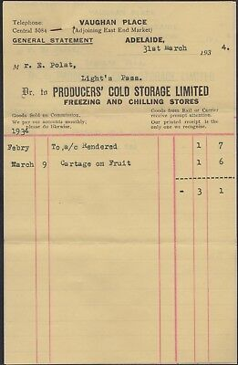 "Australia 1934 monthly statement, ""Producers' Cold Storage"" Adelaide"