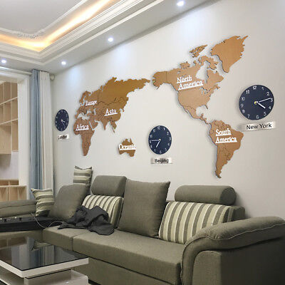 3D Large World Map Modern Wooden Wall Clock Interior Sticker Puzzle Decor Gift
